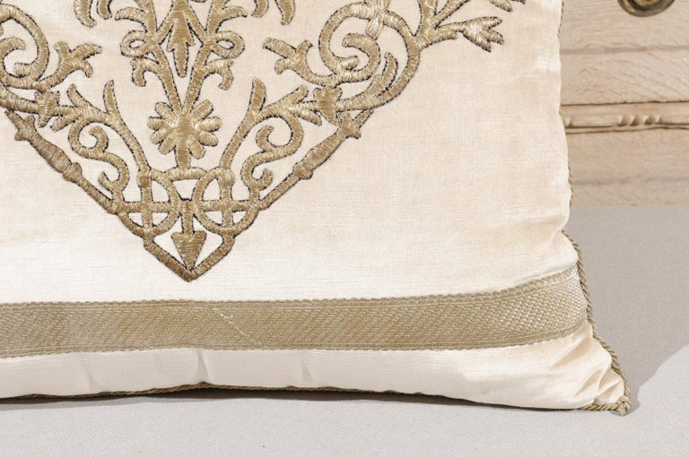 Antique Ottoman Empire Raised Silver Metallic Embroidery on Oyster Velvet Pillow In Good Condition For Sale In Atlanta, GA