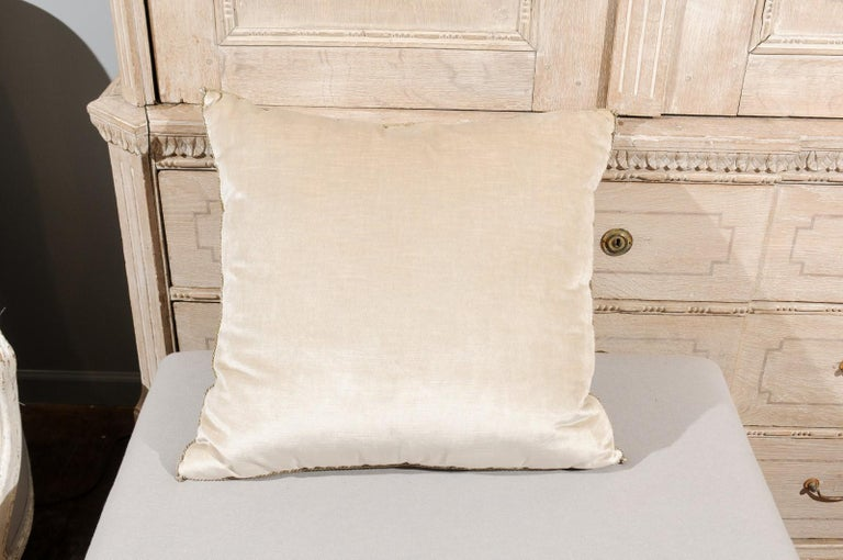 Antique Ottoman Empire Raised Silver Metallic Embroidery on Oyster Velvet Pillow For Sale 1