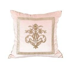 Antique Ottoman Empire Silver Metallic Embroidery on Blush Pink Velvet Pillow