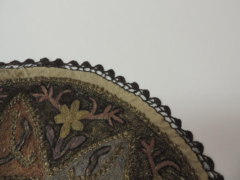 Hand-Crafted Antique Ottoman Empire Turkish Embroidery Tughra Textile Panel For Sale