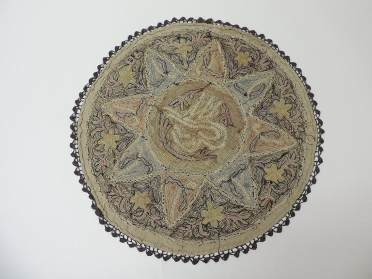 Antique Ottoman Empire Turkish Embroidery Tughra Textile Panel In Good Condition For Sale In Oakland Park, FL