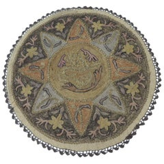 Round Ottoman Empire Turkish Embroidery Tughra Textile Panel