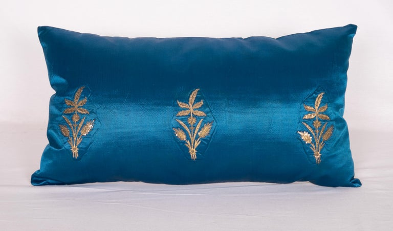 Turkish Antique Ottoman, Gold on Blue Pillow Cases, Late 19th c. For Sale