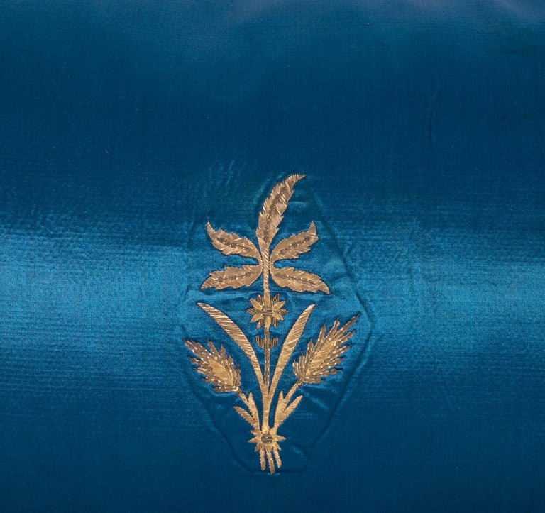 Embroidered Antique Ottoman, Gold on Blue Pillow Cases, Late 19th c. For Sale