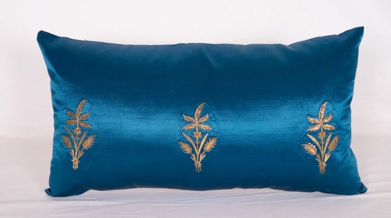 Antique Ottoman, Gold on Blue Pillow Cases, Late 19th c. In Good Condition For Sale In Istanbul, TR