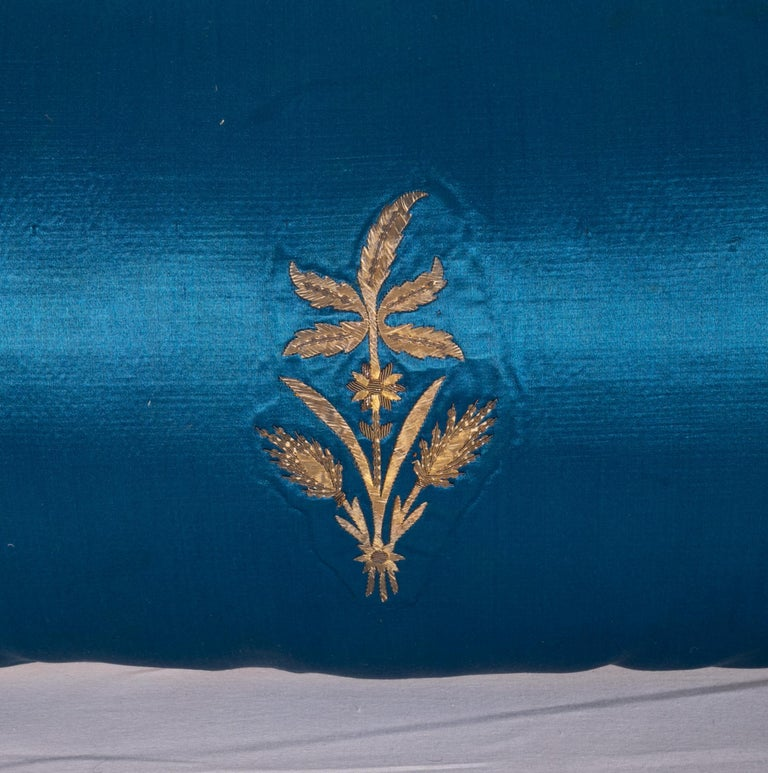 19th Century Antique Ottoman, Gold on Blue Pillow Cases, Late 19th c. For Sale
