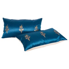 Antique Ottoman, Gold on Blue Pillow Cases, Late 19th C