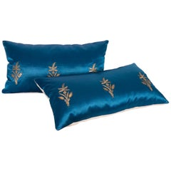Antique Ottoman, Gold on Blue Pillow Cases, Late 19th c.