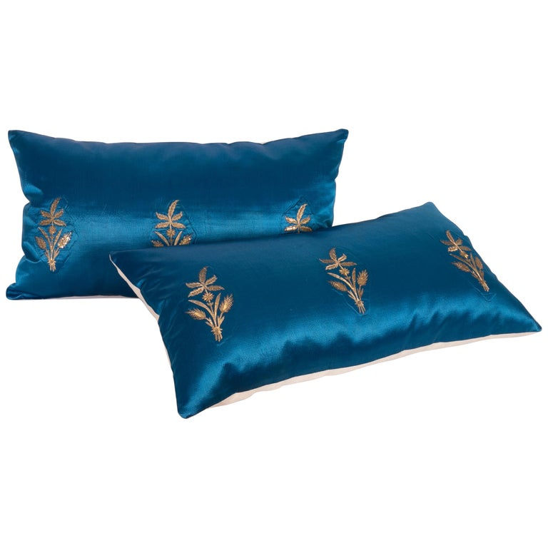 Antique Ottoman, Gold on Blue Pillow Cases, Late 19th c. For Sale