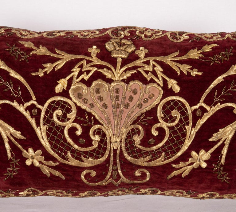 Turkish Antique Ottoman Gold on Purple Pillow Case, Late 19th C. For Sale