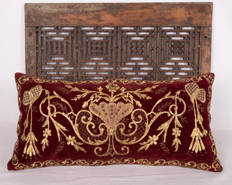 Embroidered Antique Ottoman Gold on Purple Pillow Case, Late 19th C. For Sale