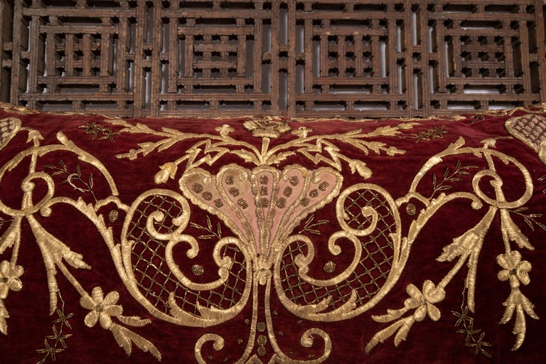 Metallic Thread Antique Ottoman Gold on Purple Pillow Case, Late 19th C. For Sale