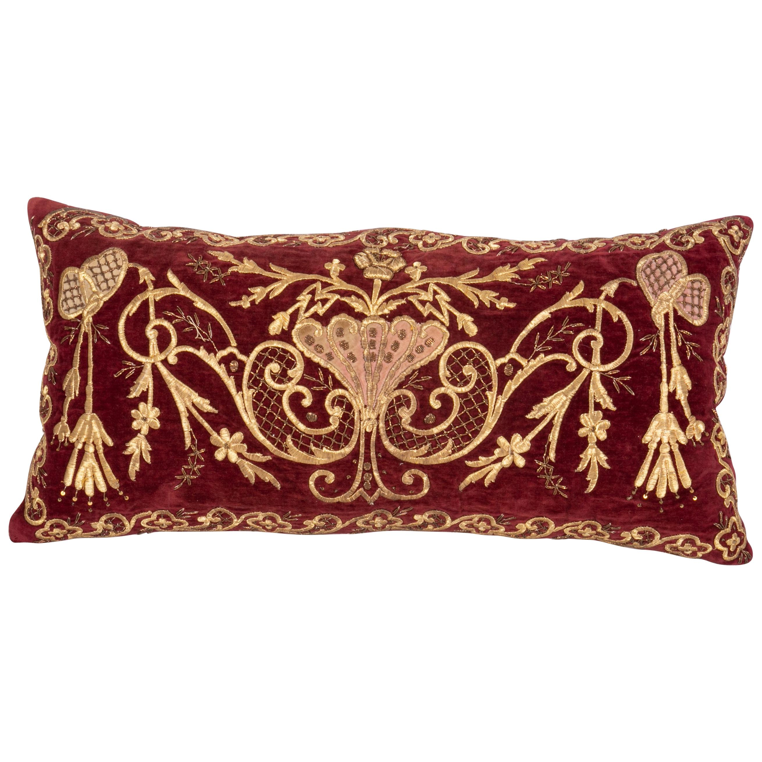 Antique Ottoman Gold on Purple Pillow Case, Late 19th C.