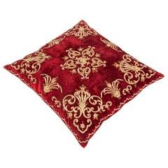 Antique Ottoman Sarma Silk Velvet Pillow Case, Late 19th-Early 20th Century