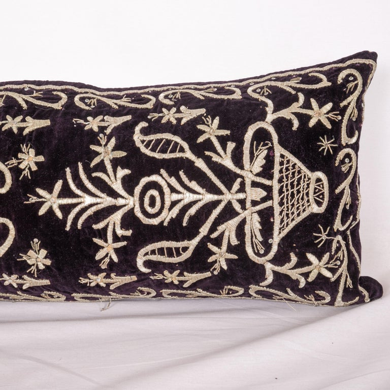 Suzani Antique Ottoman Silver on Purple Pillow Cases, Early 20th C