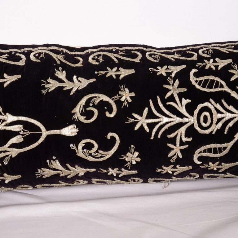 Turkish Antique Ottoman Silver on Purple Pillow Cases, Early 20th C