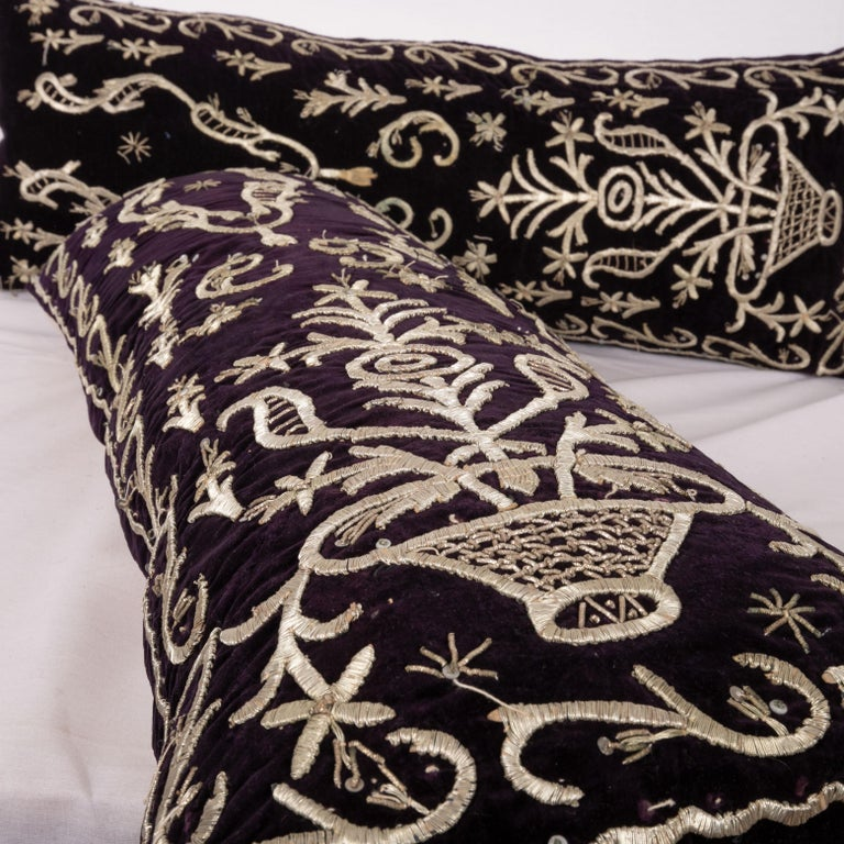 Antique Ottoman Silver on Purple Pillow Cases, Early 20th C 1