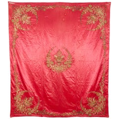 Antique Ottoman Turkish Embroidered Bed Cover, 19th Century