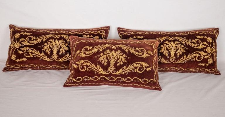 Suzani Antique Ottoman Turkish Sarma Technique Vevlet Pillow Cases For Sale