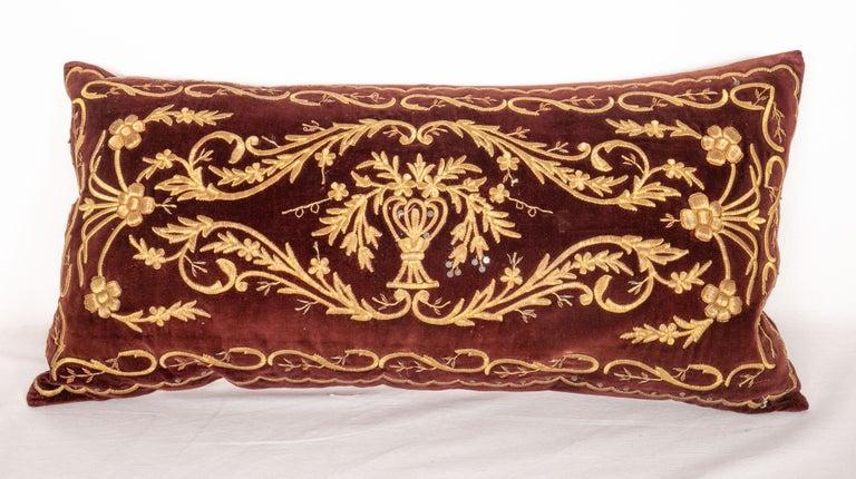 Woven Antique Ottoman Turkish Sarma Technique Vevlet Pillow Cases For Sale