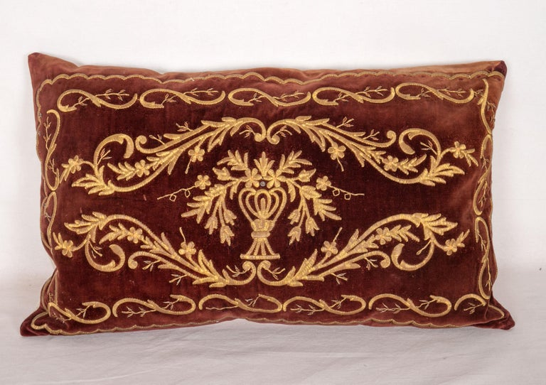 20th Century Antique Ottoman Turkish Sarma Technique Vevlet Pillow Cases For Sale