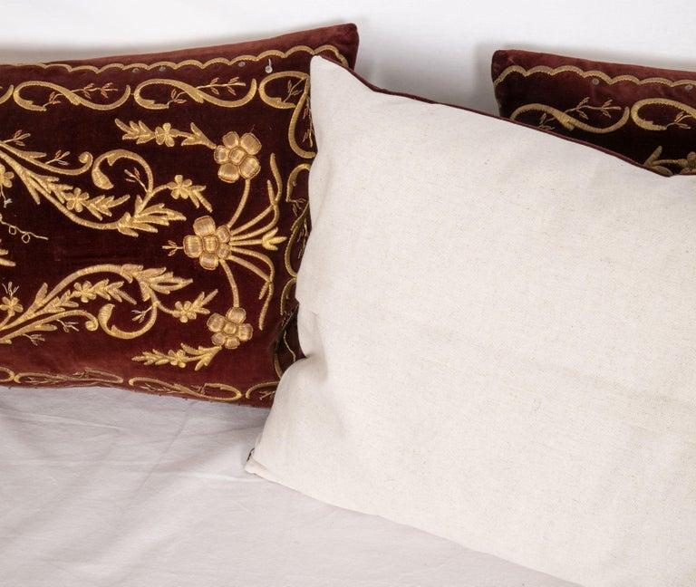 Antique Ottoman Turkish Sarma Technique Vevlet Pillow Cases For Sale 1