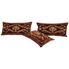 Antique Ottoman Turkish Sarma Technique Vevlet Pillow Cases