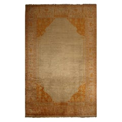 Antique Oushak Beige and Gold Wool Rug
