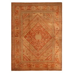 Antique Oushak Beige and Red Wool Rug with Subversive Medallion Field Design