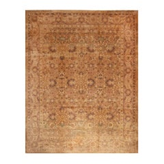 Antique Oushak Beige-Brown and Peach Wool Floral Rug