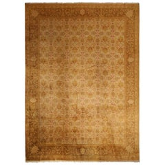 Antique Oushak Beige-Brown Geometric-Floral Wool Rug with Red Accents