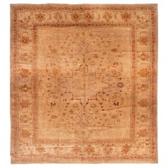 Antique Oushak Brown and Red Medallion Style Wool Floral Rug