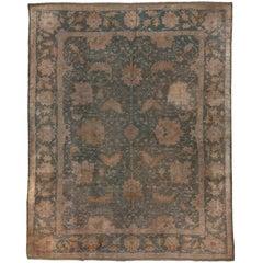 Antique Green Oushak Carpet, circa 1900s