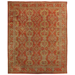Antique Oushak Carpet, Handmade Oriental Rug, Coral Field, Gold and Gray