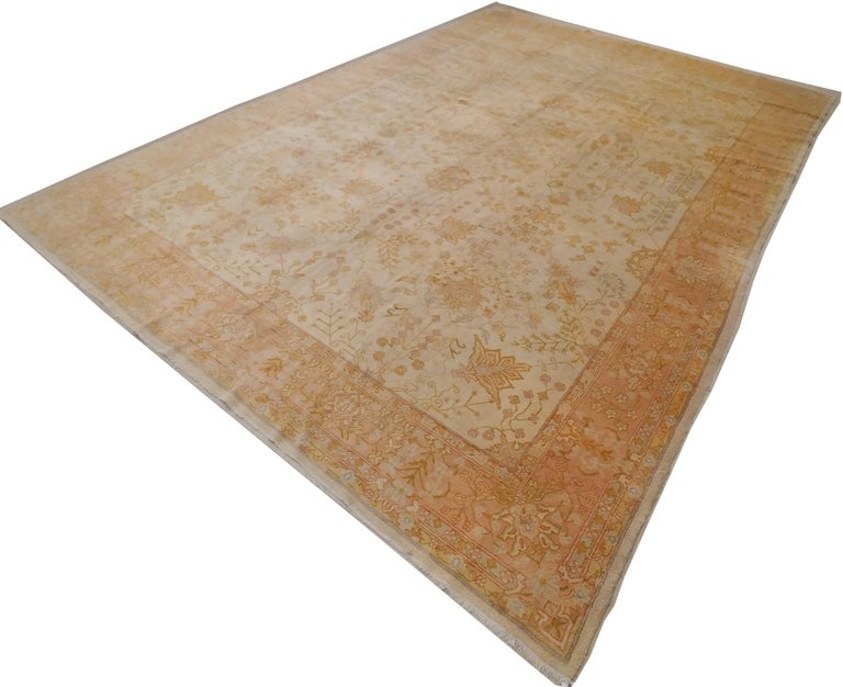 19th Century Antique Oushak Carpet, Handmade Oriental Rug, Ivory, Beige, Taupe, Cream Pink For Sale
