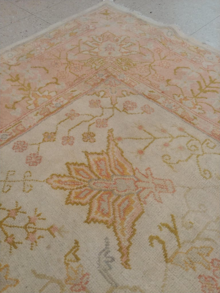 Wool Antique Oushak Carpet, Handmade Oriental Rug, Ivory, Beige, Taupe, Cream Pink For Sale