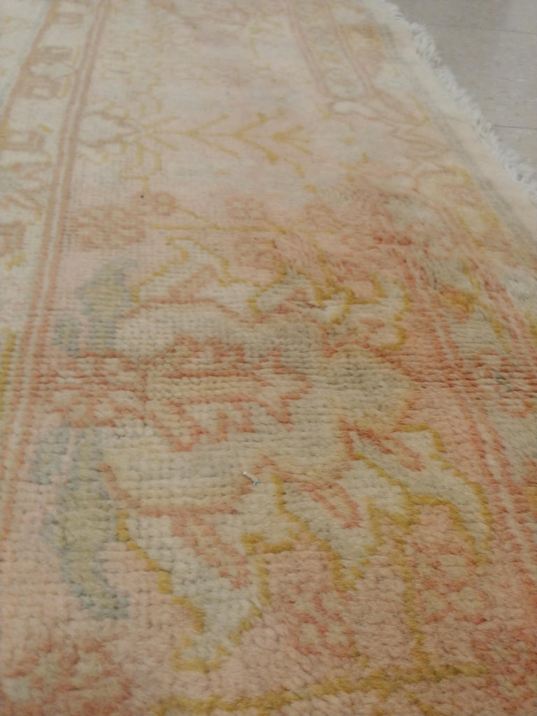 Antique Oushak Carpet, Handmade Oriental Rug, Ivory, Beige, Taupe, Cream Pink For Sale 1