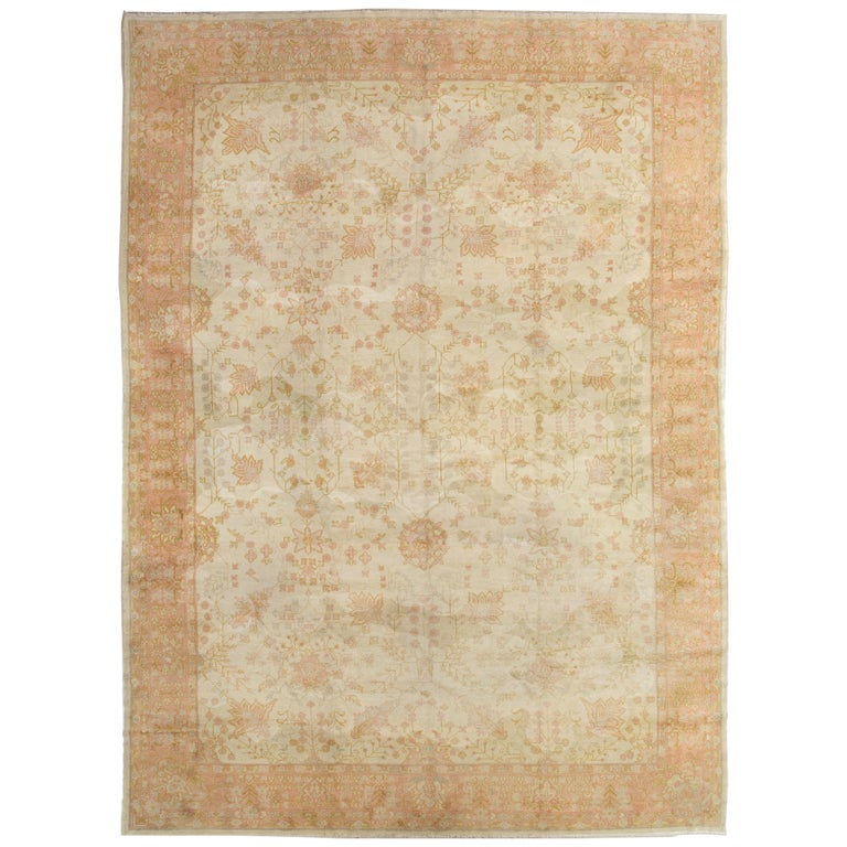 Antique Oushak Carpet, Handmade Oriental Rug, Ivory, Beige, Taupe, Cream Pink For Sale