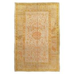 Antique Oushak Carpet, Handmade Oriental Rug, Pale Blue Green, Yellow, Coral Rug
