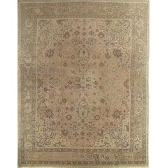 Antique Oushak Carpet, Handmade Oriental Rug, Soft, Taupe, Brown, Beige