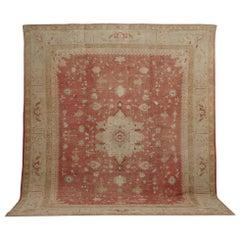 Antique Oushak Carpet, Handmade Turkish Oriental Rug, Beige, Coral, Soft Colors