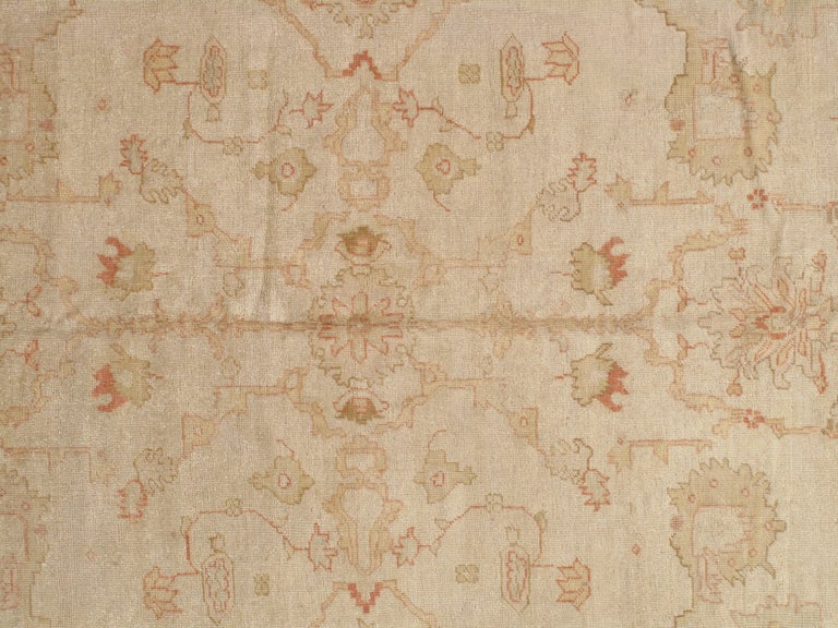 West Anatolia is one of the largest weaving regions in Turkey. Since the 15th century, Turkish rugs have always been on top of the list for having fine oriental rugs. Oushak rugs such as this, are desirable in today's highly decorative market. A