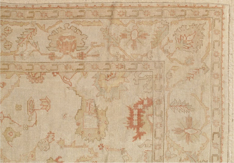 Hand-Knotted Antique Oushak Carpet, Handmade Turkish Oriental Rug, Beige, Taupe, Coral, Soft For Sale