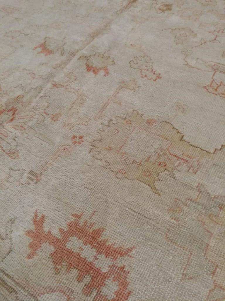 Wool Antique Oushak Carpet, Handmade Turkish Oriental Rug, Beige, Taupe, Coral, Soft For Sale