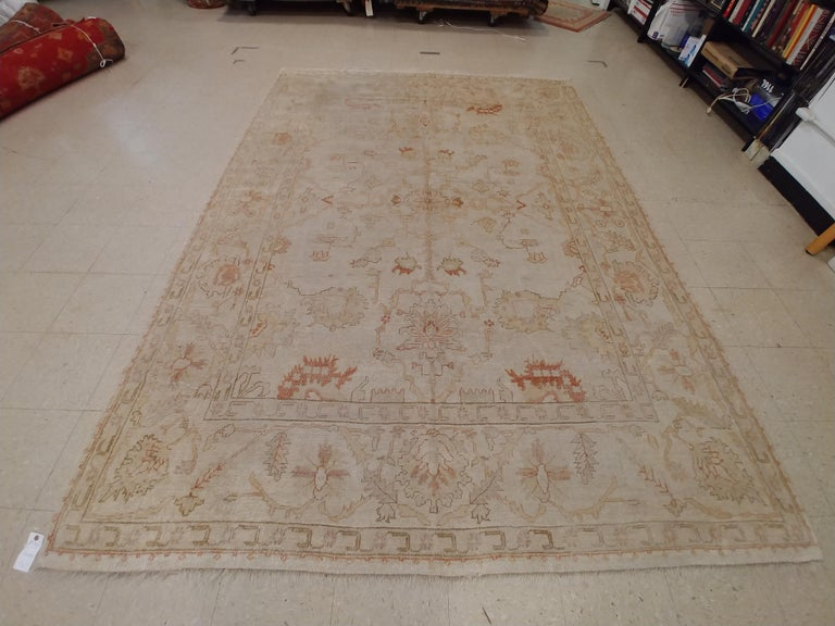 Antique Oushak Carpet, Handmade Turkish Oriental Rug, Beige, Taupe, Coral, Soft For Sale 1