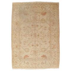 Antique Oushak Carpet, Handmade Turkish Oriental Rug, Beige, Taupe, Coral, Soft