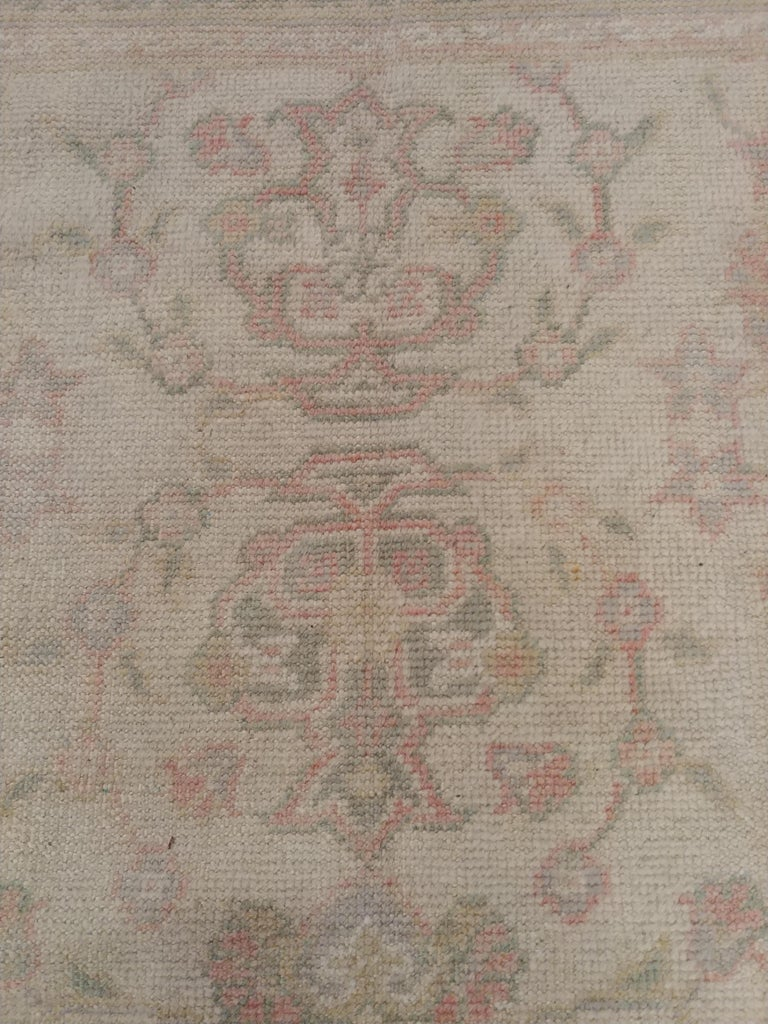 Hand-Knotted Antique Oushak Carpet, Handmade Turkish Oriental Rug, Beige, Taupe, Soft For Sale