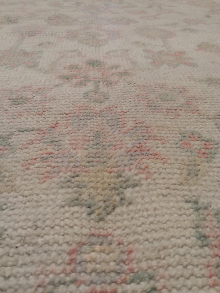 20th Century Antique Oushak Carpet, Handmade Turkish Oriental Rug, Beige, Taupe, Soft For Sale