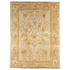 Antique Oushak Carpet Handmade Turkish Oriental Rug Beige, Taupe, Soft Pale Blue