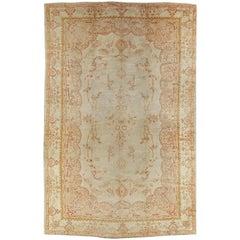 Antique Oushak Carpet, Handmade Turkish Oriental Rug, Beige, Taupe, Soft Salmon